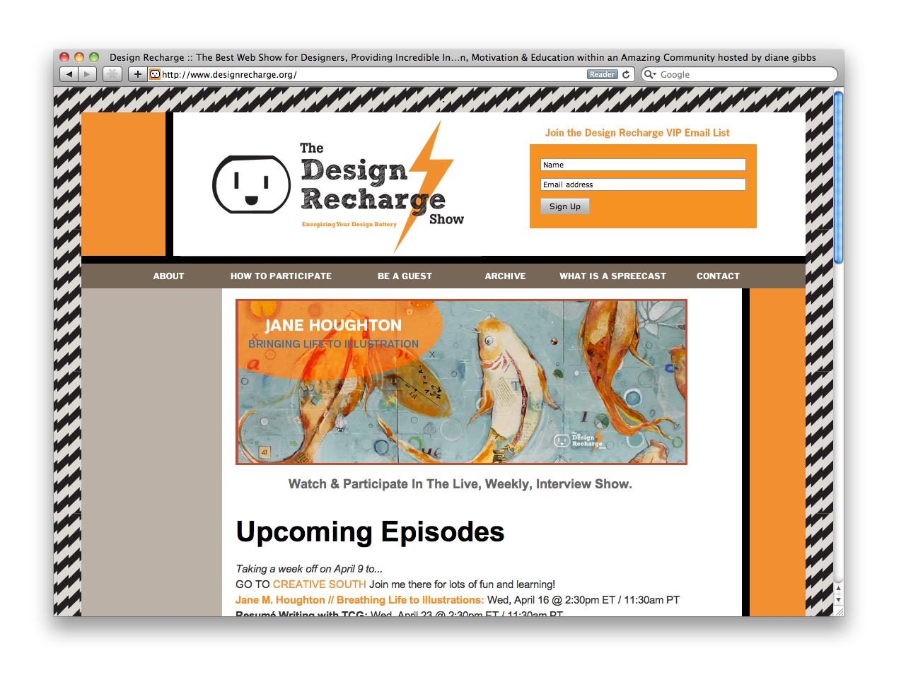screenshot of design recharge