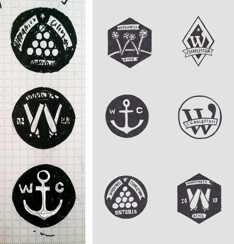 sketches for wordpress charleston logo