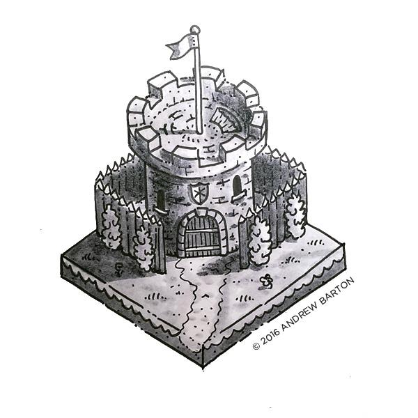 isometric castle house