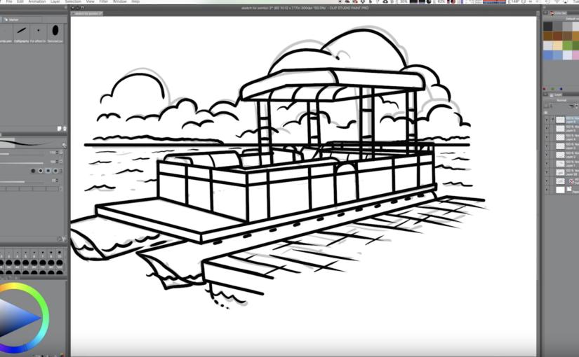screenshot of boat illustration in progress
