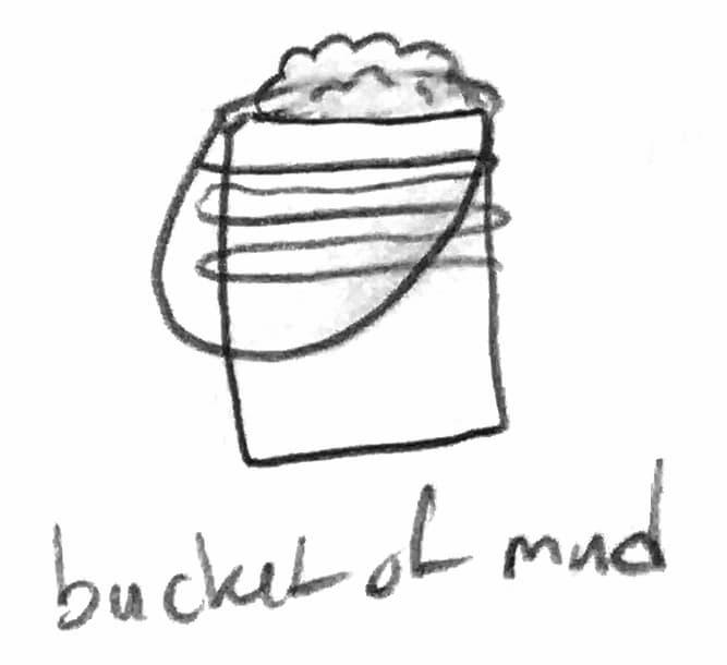 pencil drawing of bucket of mud