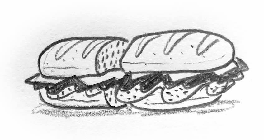 pencil drawing of sandwich